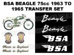 BSA Beagle 75cc 1963 to 1965 Transfer Decal Set